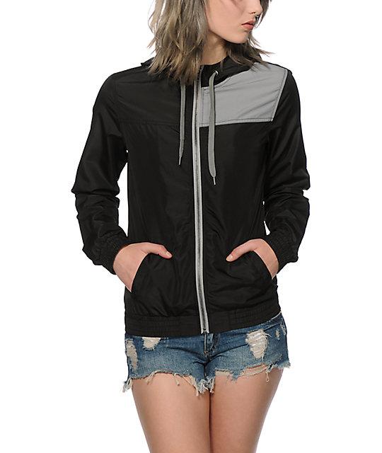 Zine Briley Black & Grey Colorblock Windbreaker Jacket