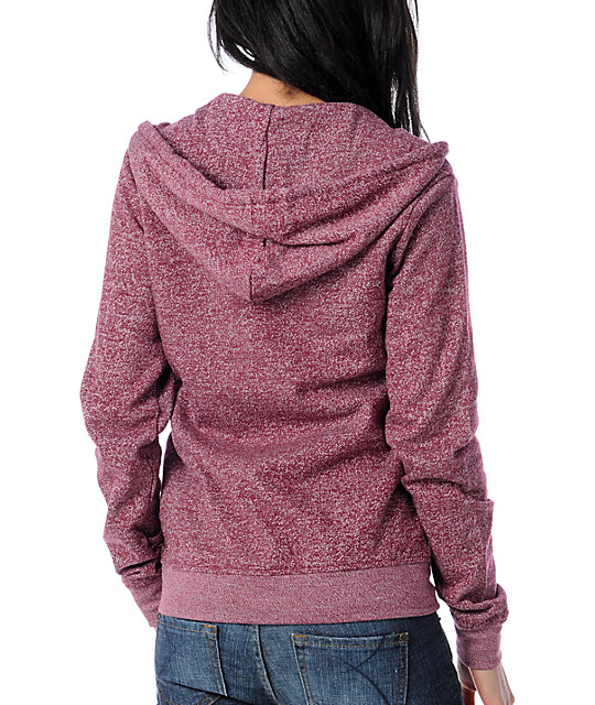 Zine Burgundy Salt & Pepper Zip Up Hoodie