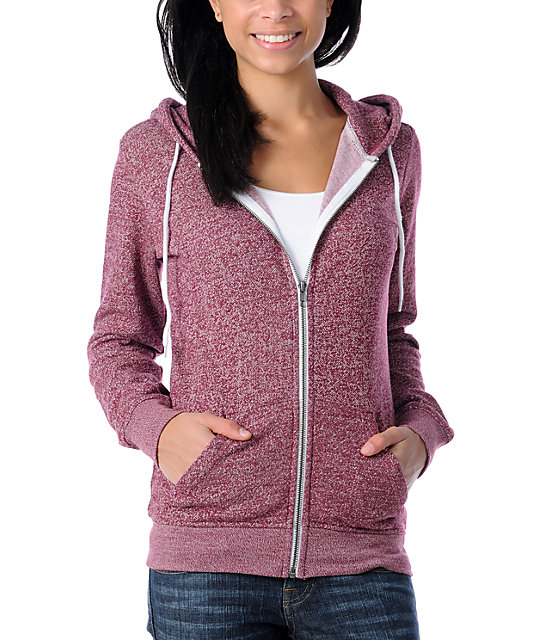 Zine Burgundy Salt & Pepper Zip Up Hoodie at Zumiez : PDP