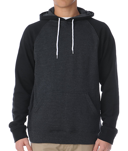 Zine Campus 2-Tone Black & Heather Charcoal Pullover Hoodie at ...