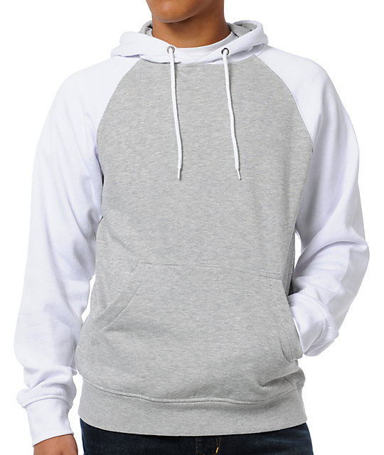 Campus Grey & White Pullover Hoodie