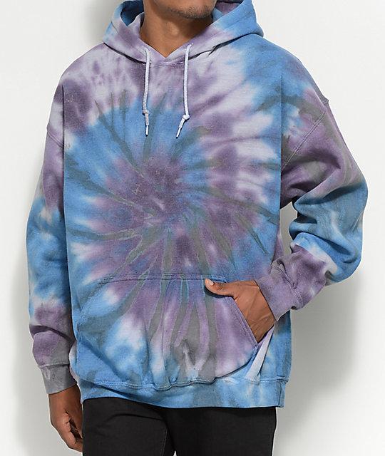 zine castle blue purple tie dye pullover hoodie zumiez. Black Bedroom Furniture Sets. Home Design Ideas