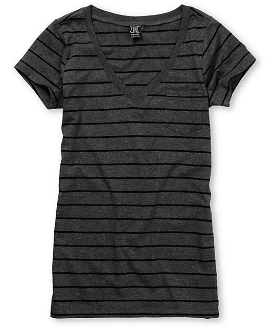 Zine Charcoal & Black Stripe V-Neck T-Shirt