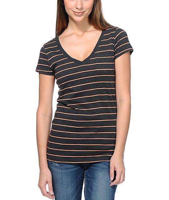Zine Charcoal & Fresh Salmon Striped V-Neck T-Shirt