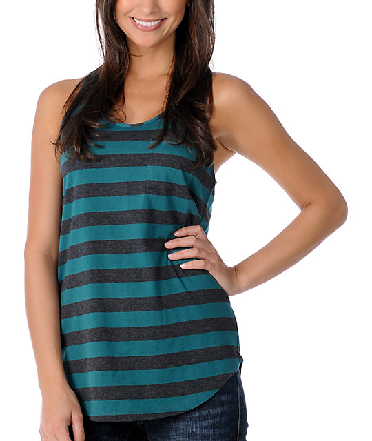 Zine Charcoal & Teal Striped Tank Top