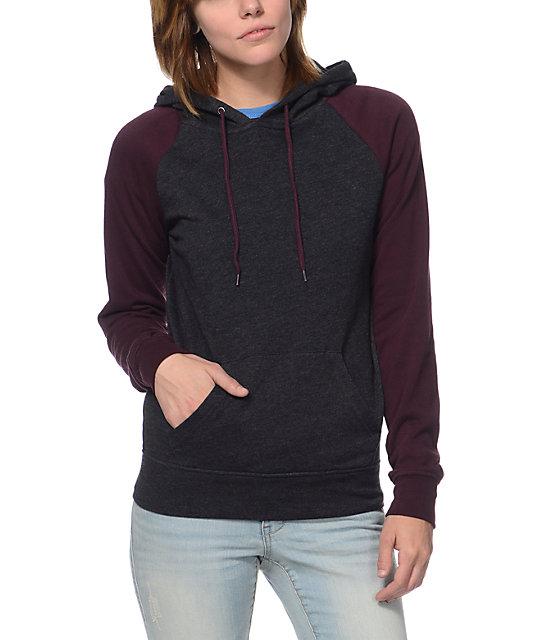 Zine Charcoal & Blackberry Pullover Hoodie | Zumiez