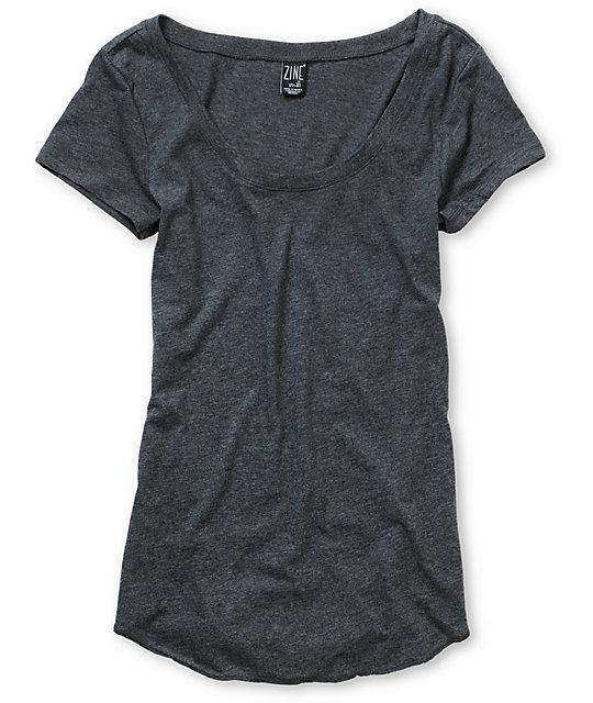 Zine Charcoal Scoop Neck T-Shirt