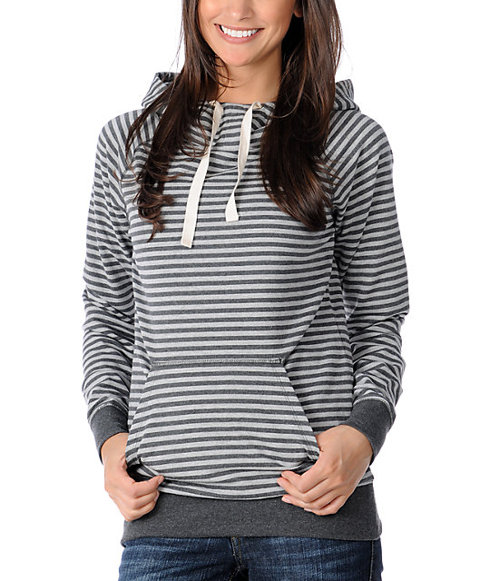 Zine Charcoal Striped Hooded Pullover Sweatshirt