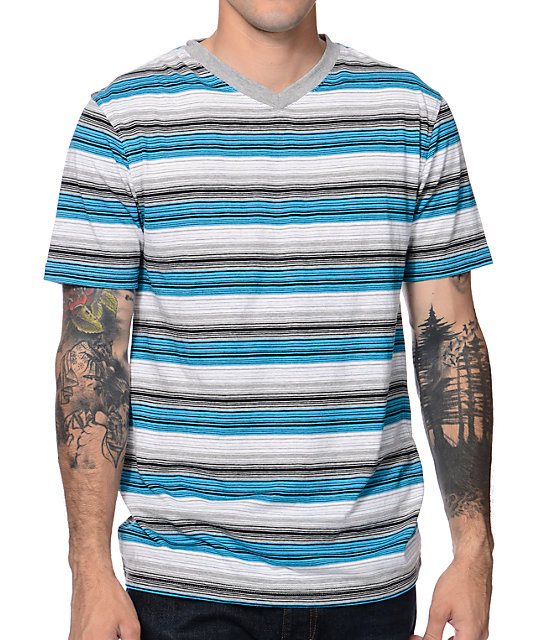 Zine Cheeseball Blue Stripe V-Neck T-Shirt