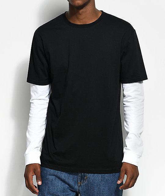 Zine Chilled Layered Black & White Long Sleeve T-Shirt | Zumiez
