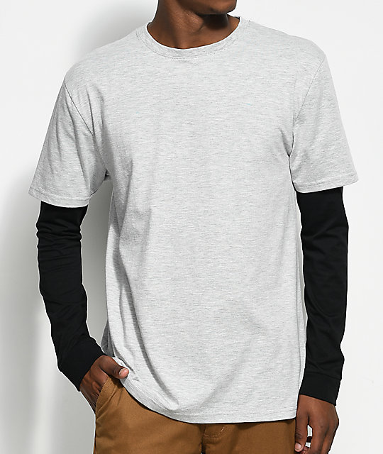 Zine Chilled Layered Grey & Black Long Sleeve T-Shirt