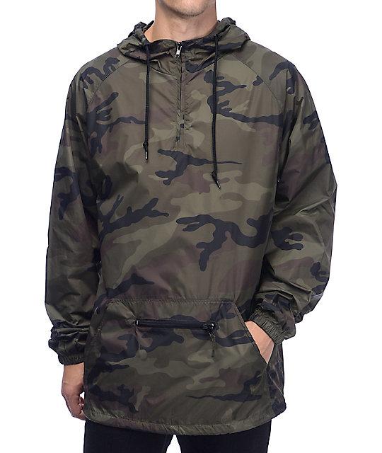 Zine Clark Quarter Zip Camo Windbreaker Jacket