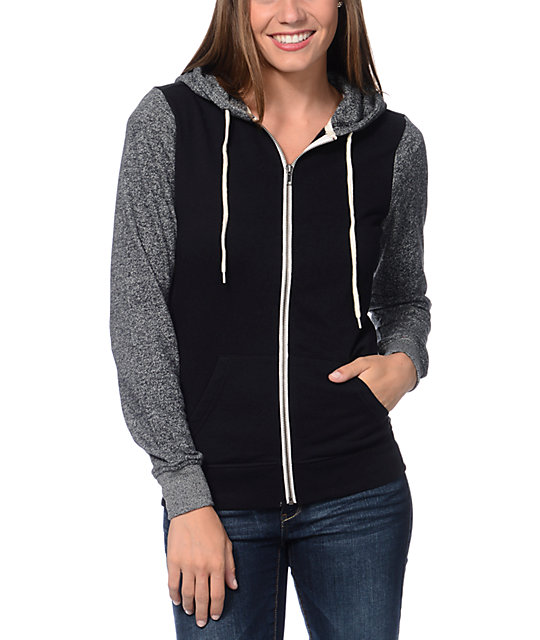 Colorblock Black & Grey Speckle Zip Up Hoodie