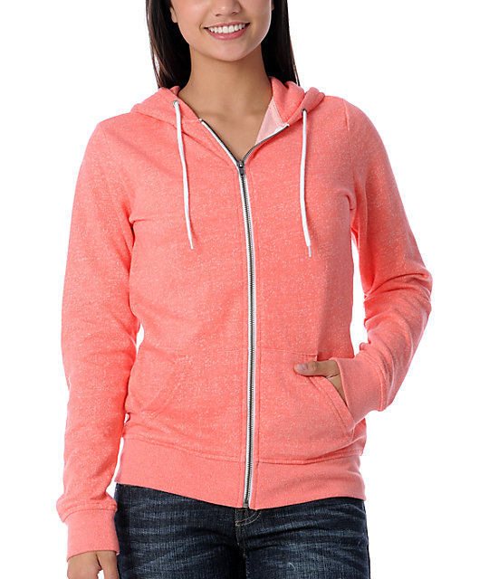 Zine Coral Salt & Pepper Zip Up Hoodie