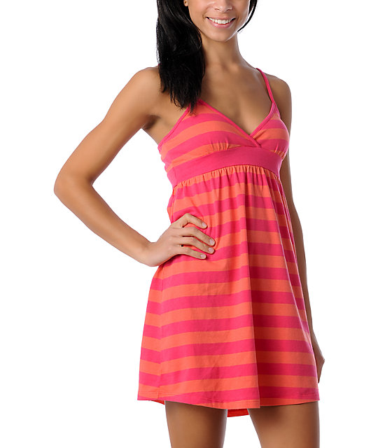 Zine Coral Striped Tank Top  Dress Cover Up