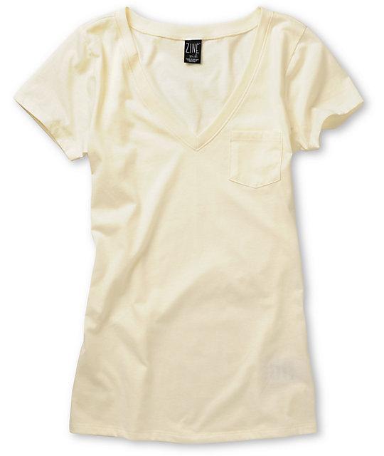 Zine Cream V-Neck T-Shirt