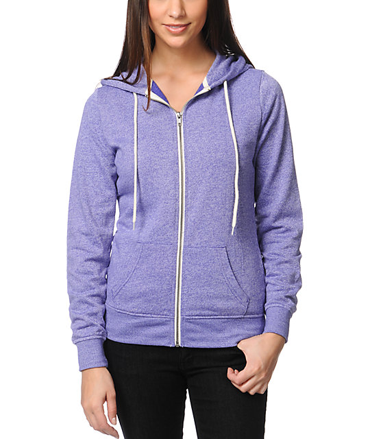 Zine Deep Blue Lavender Purple Zip Up Hoodie