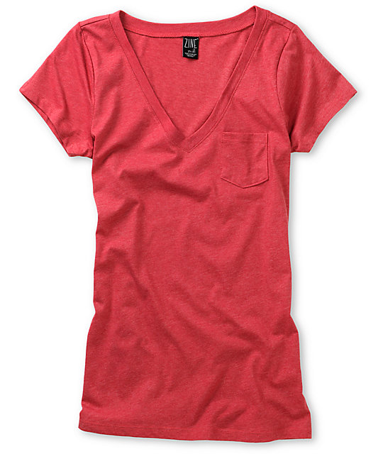 Zine Deep Claret Red V-Neck T-Shirt