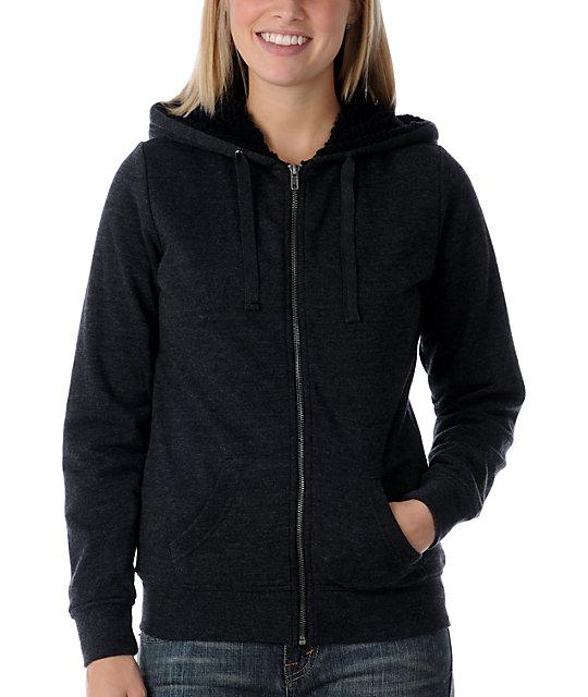 Zine Deep Heather Black Sherpa Hoodie