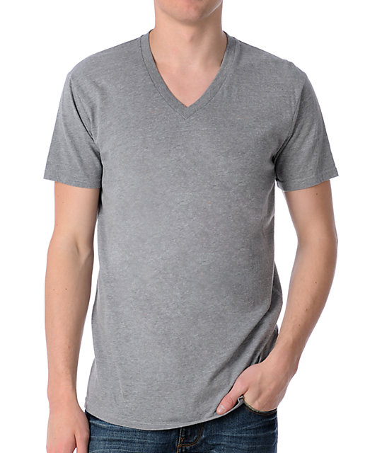zine deuce heather grey v neck t shirt