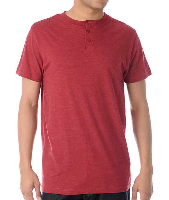 Zine Dibs Brick Red Henley T-Shirt