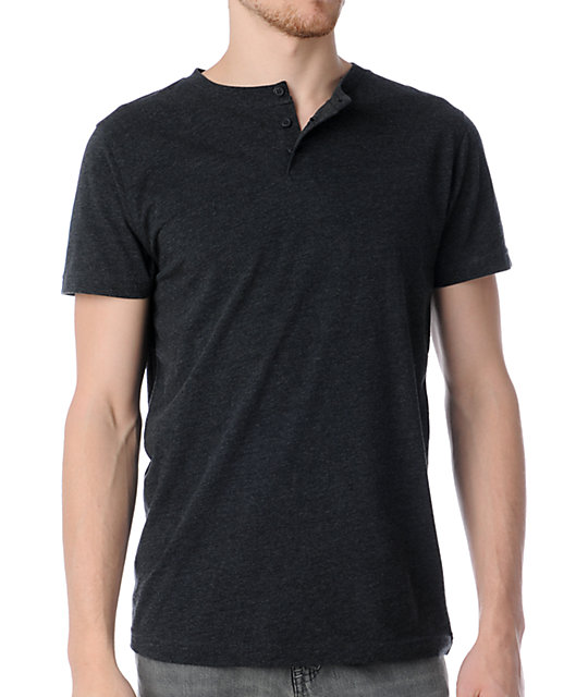 Zine Dibs Heather Charcoal Henley T-Shirt