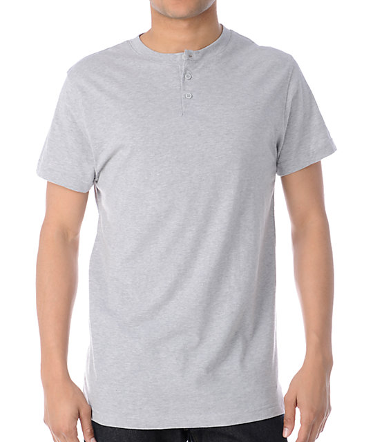 Zine Dibs Heather Grey Henley T-Shirt