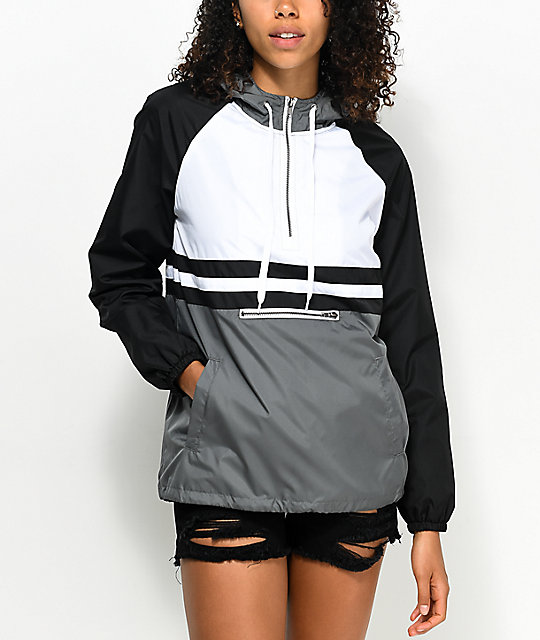 Zine Domino Black, White & Grey Pullover Windbreaker | Zumiez
