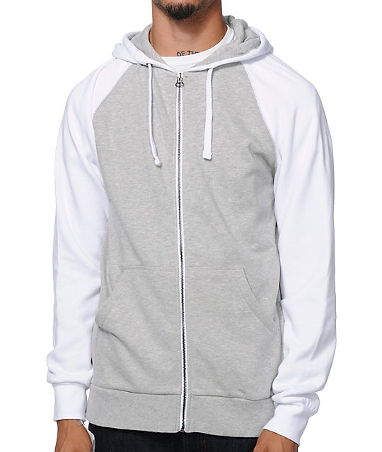 White zip up hoodies
