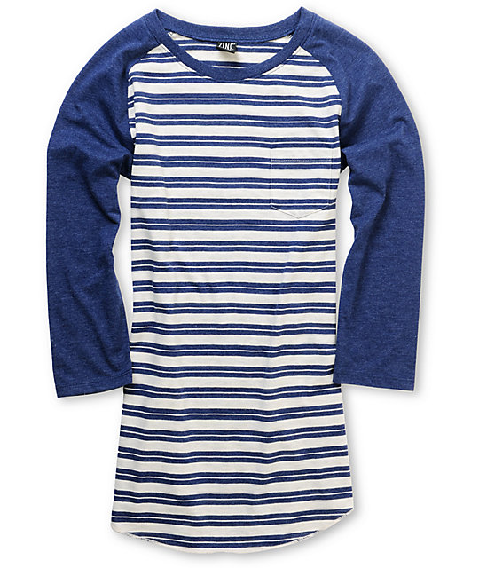 Zine Eclipse Blue Striped Baseball Tee