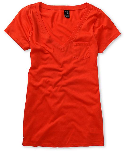 Zine Fire Red V-Neck T-Shirt