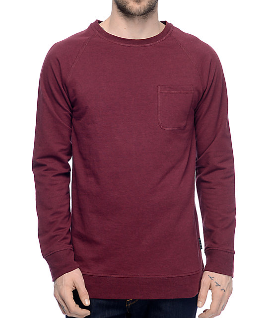 Zine Fireside Burgundy Pocket Long Sleeve T-Shirt at Zumiez : PDP