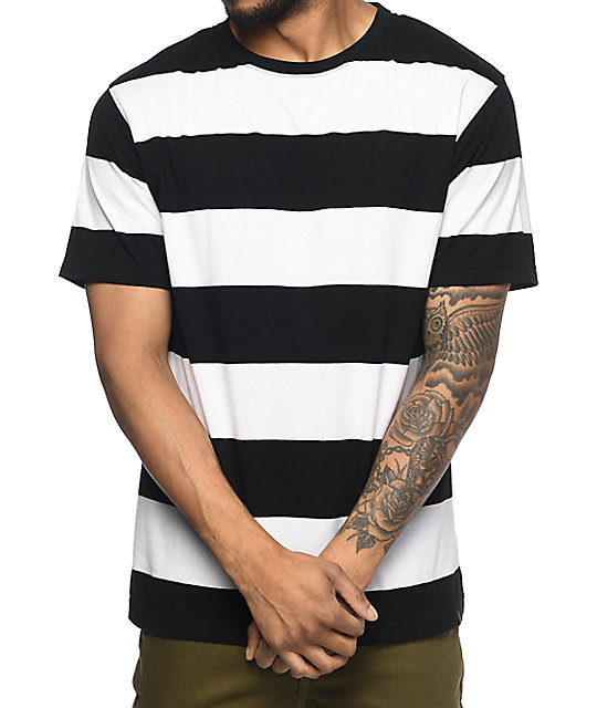 Zine Fitter Stripe White & Black T-Shirt | Zumiez