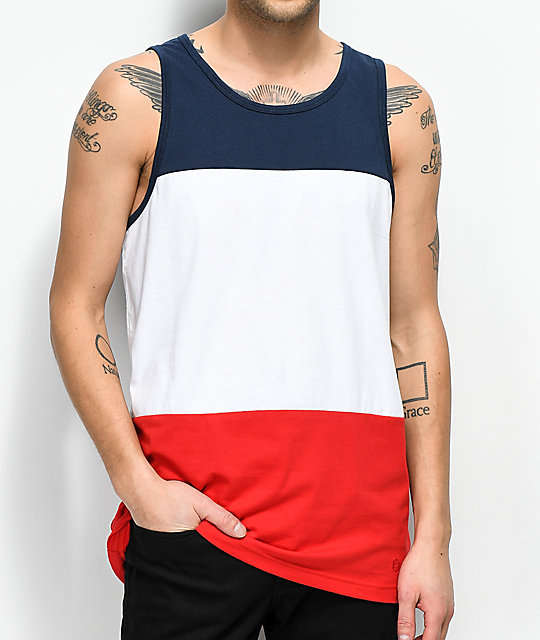 Zine Flavor Blue, White & Red Tank Top