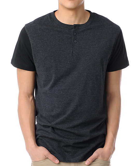 Zine Flipside Heather Black Henley T-Shirt
