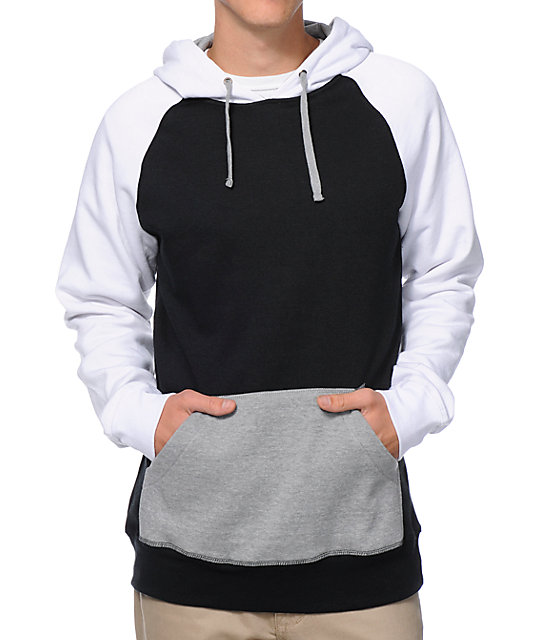 Freshmix Black, Grey & White Pullover Hoodie