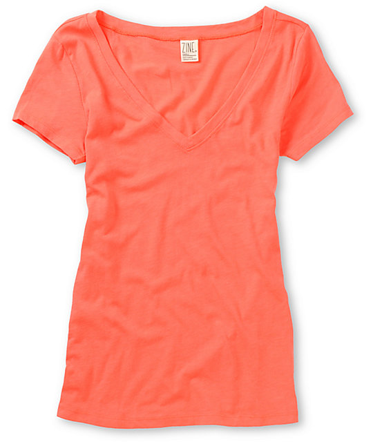 Zine Georgia Peach Coral Beta V-Neck T-Shirt