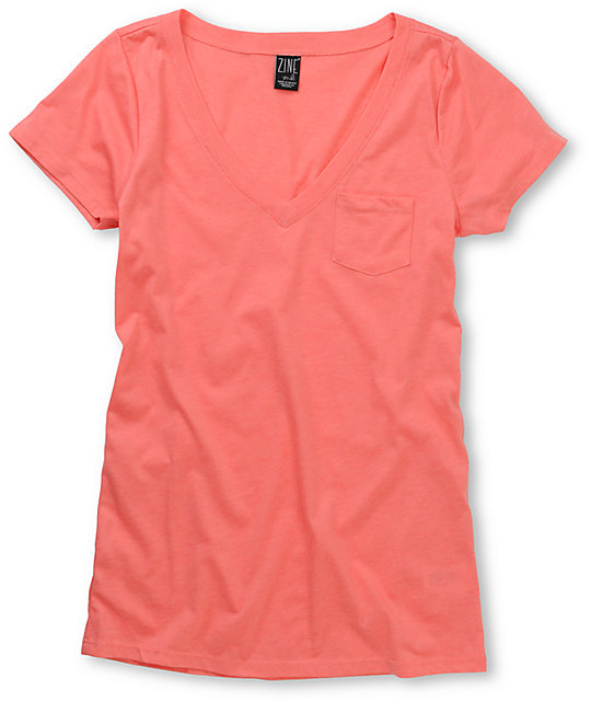 Zine Georgia Peach V-Neck T-Shirt