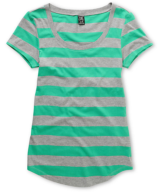 Zine Green & Grey Stripe Scoop Neck T-Shirt