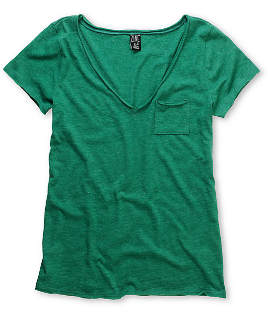 Zine Green Raw Edge V-Neck T-Shirt