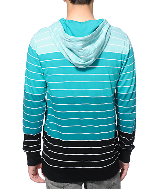 Zine Greenery Green Stripe Long Sleeve Hooded Shirt