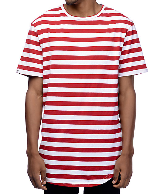 Zine Halfsies Red & White Striped T-Shirt | Zumiez