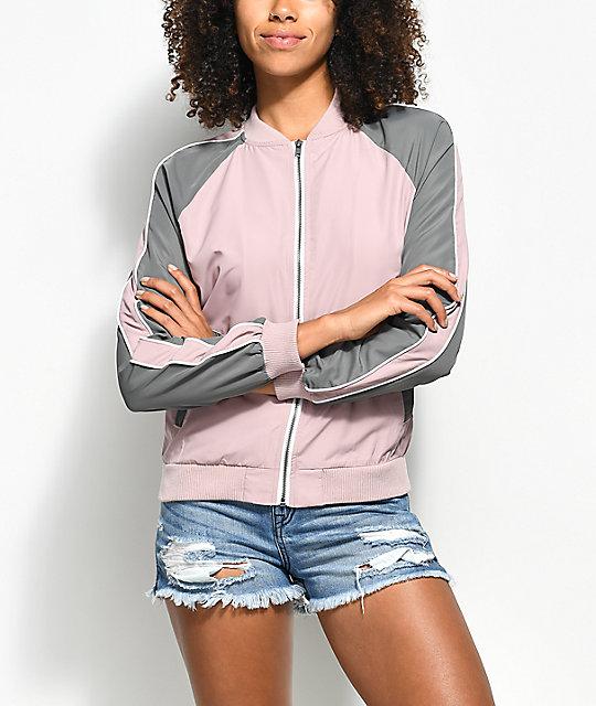Zine Harlow Mauve & Grey Colorblock Jacket