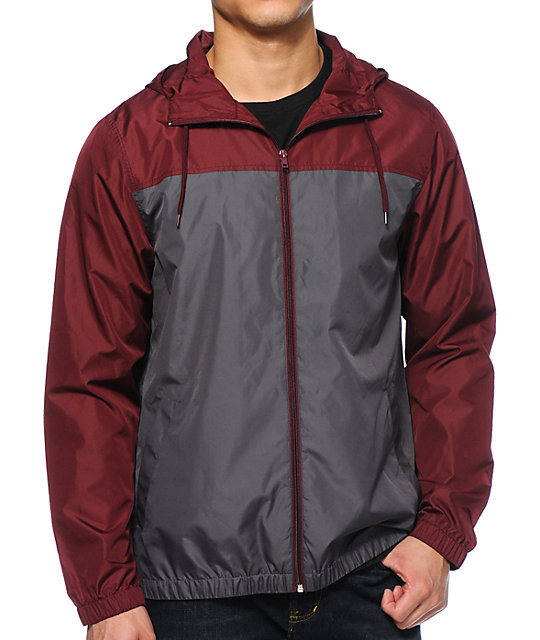 Zine Harvey Grey & Maroon Windbreaker Jacket | Zumiez