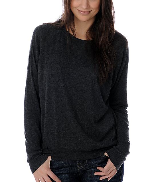 Zine Heather Black Wide Neck Sweatshirt