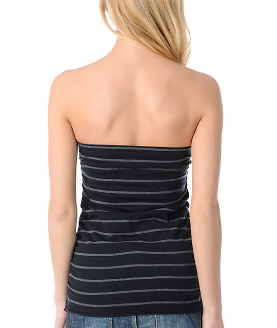 Zine Heather Charcoal Grey & Black Stripe Tube Top