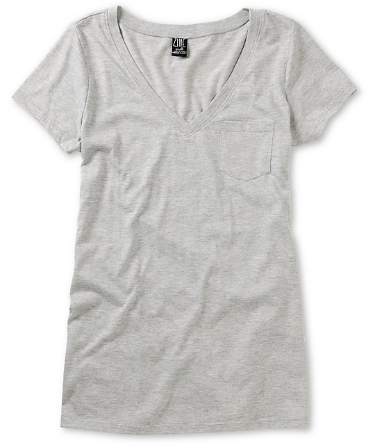 Zine Heather Grey V-Neck T-Shirt