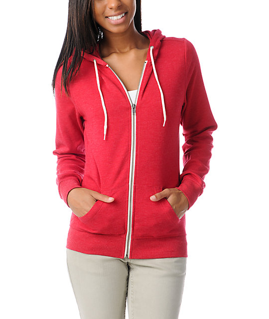 Zine Heather Red Zip Up Hoodie
