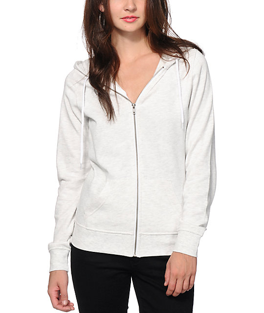Zine Heather White Zip Up Hoodie at Zumiez : PDP
