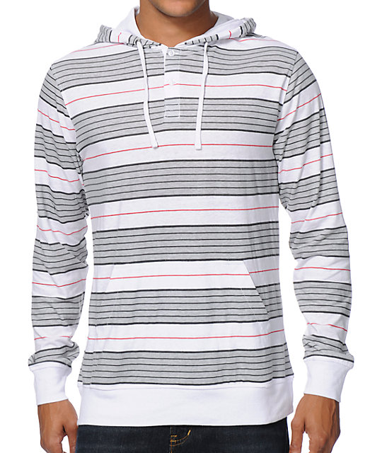 Zine Highstripe Grey & White Long Sleeve Hooded Henley Shirt